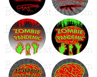 ZOMBIES Digital Collage clip art 1.25 Inch Round Circle 3 Sheets of 6 images each INSTANT DOWNLOAD Help Feed Rescued Cats