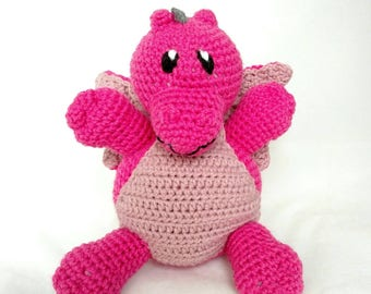 Dragon Stuffed Animal - Bright Pink with Light Pink Accents - Crochet Plush - Machine Washable - Baby Gift - Unisex