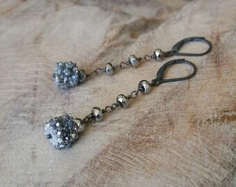 Silver Druzy Hematite Earrings