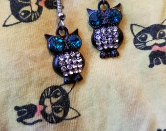 Blue Eyed Jeweled Owl Earrings