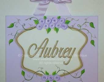 Lavender, Roses, canvas name sign, hand painted, personalized, name painting, Lavender nursery, girls nursery, monogram painting