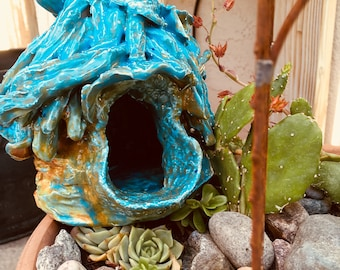 Magical Turquoise, Paprika, and Moss Green Ceramic Birdhouse