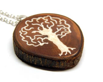 Arbor Vitae Mother of Pearl Tree of Life Round Bradford Pear Wood Pendant Necklace by Tanja Sova