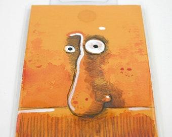 Orange Monster Original ACEO Art Card