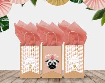 """Printable """"Party Pug"""" Thank You Favor Bag Tags"""