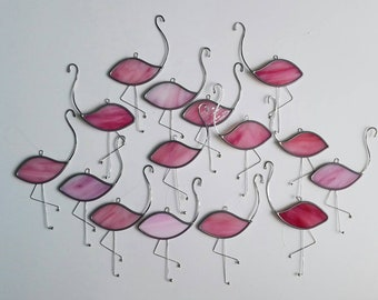Handmade stained glass flamingo decorative hanging.