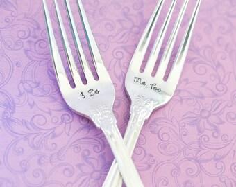 Engraved Fork - Stainless Steel Fork - Engraved Fork - Wedding Forks - Wedding Cake Fork - I do, Me Too