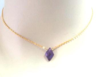 Dainty Amethyst Diamond Choker Necklace Amethyst Necklace genuine Necklace  Gemstone February Birthstone Gold Silver