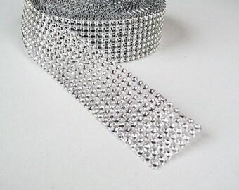 Diamond Rhinestone Ribbon - Silver Rhinestone wrap - party decorations - 1 yd