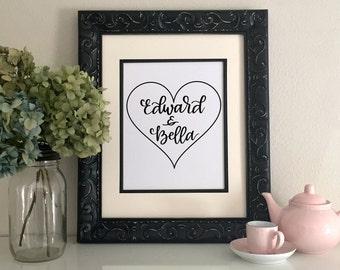Personalized Name Print, Hand Lettered, Brush Calligraphy, Grandparents, Anniversary, Love, Heart, Baby's Nursery, Custom Name Art