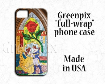 Disney Beauty and the Beast wedding iPhone case, iPhone X, iPhone 8 Plus, iPhone 7 Plus, iPhone 6 6S Plus, Belle, stained glass mosaic