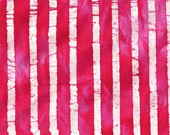 Tissu BATIK  Tiges de Bambous tons lumineux rose fuschia et blanc