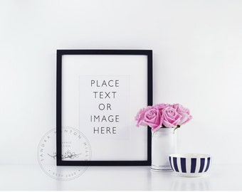 Styled Stock Photo | Picture Frame with Black and White Desk Accessories and Pink Roses 2 |Styled Photography