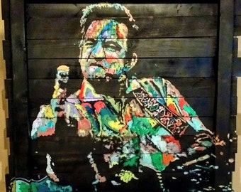 Large Colorful Johnny Cash Original Painting on Reclaimed Wood Art by Matt Pecson MADE TO ORDER Pallet Art Rustic Decor Farmhouse Decor