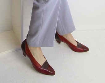 VINTAGE Shoes Leather Heels Colorblock Low Heel Womens Size 8