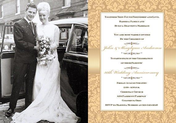50th anniversary party, champagne wedding anniversary invitation, golden wedding anniversary invitation, foldover invitation, IN640