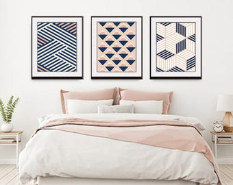 Freedom Geometric Patterns (Series A3) Set of 3 - Art Prints (Featured in Blush and Navy) Botanical Print Set