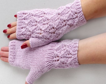 Dusty pink Lace fingerless gloves, wool arm warmers, knit wrist warmers, romantic fingerless gloves, fingerless mitts