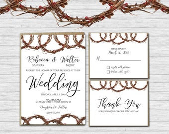 Grapevine Wedding Invitation Suite - Rustic Wedding Invitations - Matching RSVP and Thank You Cards | country natural vine invites primitive