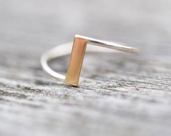 Gold and Silver Ring | Gold Bar Ring |  Two Tone Ring | Unusual Ring | Unique Ring | Eco Friendly Ring | Silver and Gold Ring