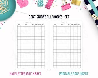 Half Letter: Debt Snowball Worksheet • Budget Binder Printable Page Insert for 1/2 Letter & Junior sized Discbound or Ringbound Planners