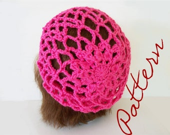 Crochet Pattern Lace and Flower Slouch Hat With Crochet Chart
