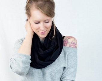 Black Scarf, Black Infinity Scarf, Jersey Scarf, Circle Scarf, Gift for Her Wife Gift, Girlfriend Gift , Winter Scarf, Men Women Scarf