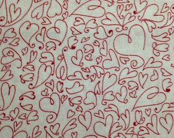 Red-Lined Hearts on White Background, Valentine's Day, 100% Cotton