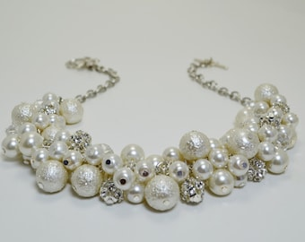 Ivory Pearl Necklace w Rhinestones and Crystals, Ivory Chunky Necklace, Bridal Jewelry,Cream Pearl Necklace, Ivory Necklace, Pearl Jewelry