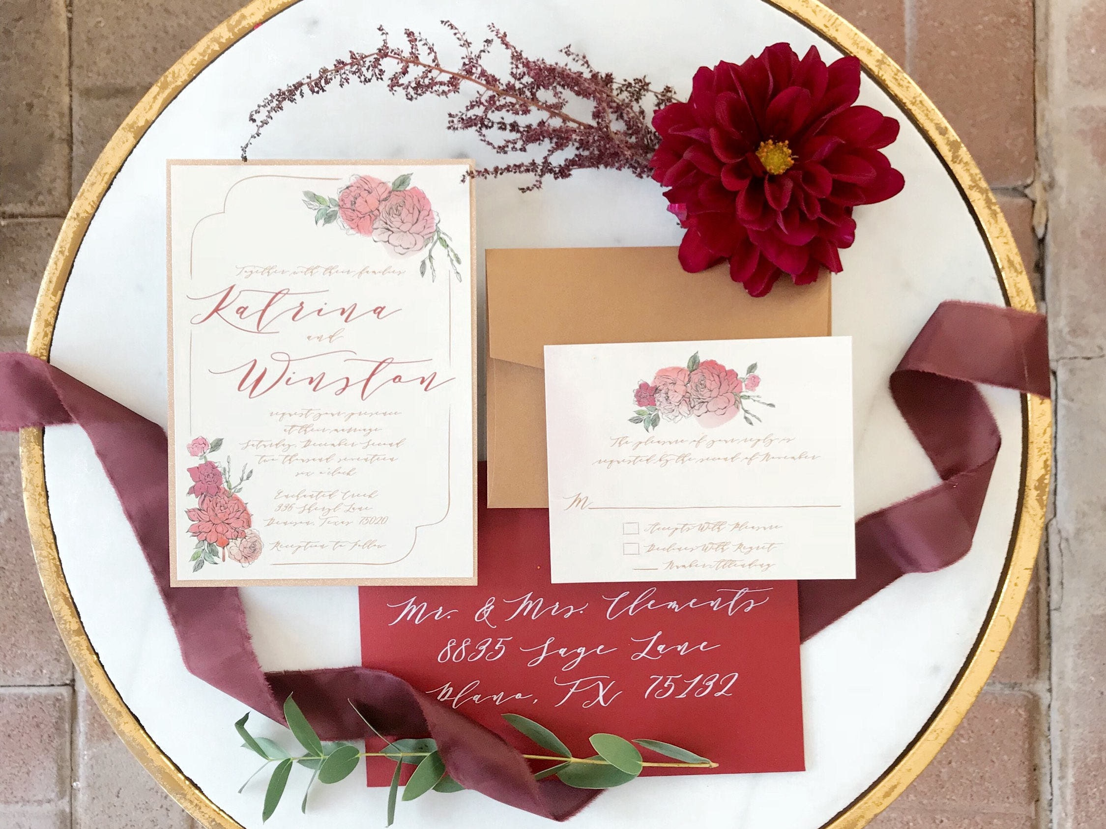 Two Layer Floral Rose Gold Glitter, Blush Pink & Red Burgundy ...