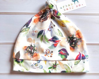 100% Organic Cotton Baby Top Knot Hat, Cap, Fall, Autumn, Watercolor Florals, Flowers