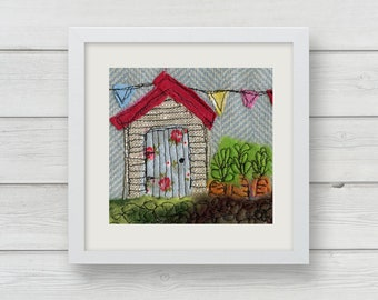The Potting Shed Original Textile / the allotment / Fabric art / Gardeners Gift / Green fingers / Vegetable patch /