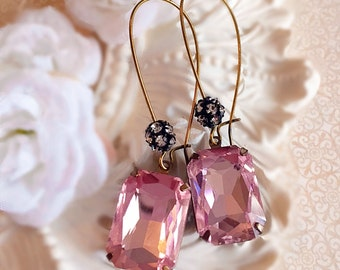 Romantic Jewelry for Her - Blush Pink - Drop Earrings - Crystal Earrings - MADELINE Pink