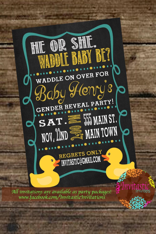 Rubber Duck Gender Reveal Invitation Chalkboard Rubber Ducky