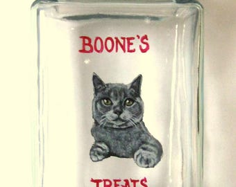Mothers Day Gift, Custom Cat Painting, Treat Jar, Personalized Pet, Custom Canister, Gray Cat, Snack Holder, Painted Glass, Cat Food
