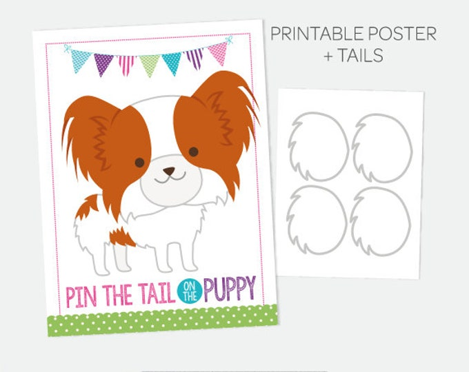 Pin the Tail on the Puppy, Pin the Tail Game, Printable Poster, Puppy Party Games, Puppy Birthday Decorations, Printable Digital Sign