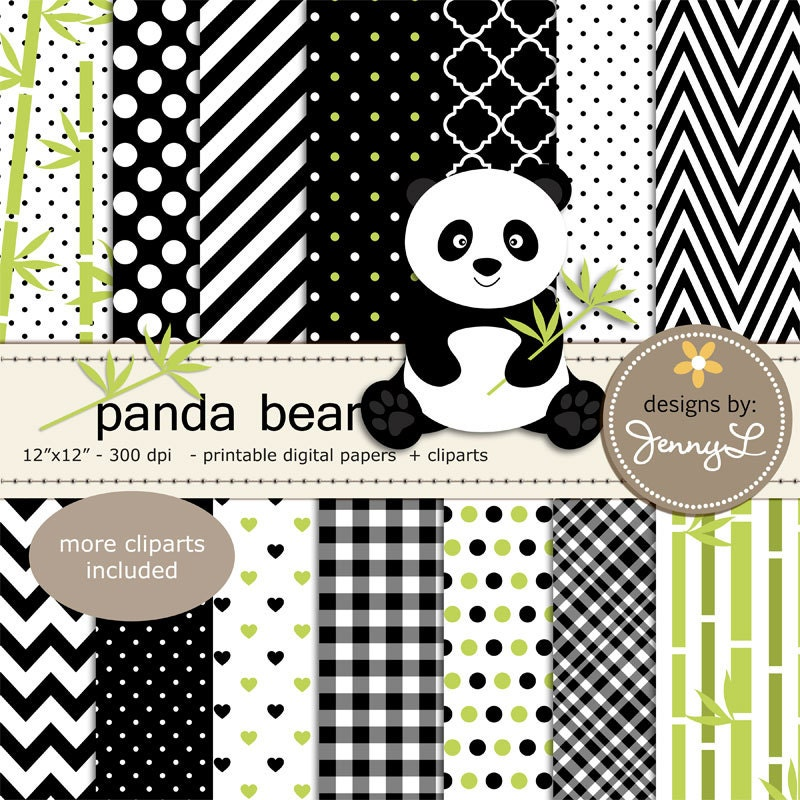 Panda Bear Digital Papers and Clipart, Stitched Heart Bamboo Digital ...