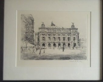 Henri Richy Framed Etching Of Place De L'Opera Paris