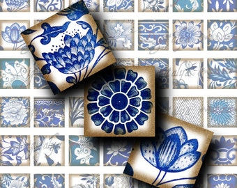 Asian Blue Porcelain (2)  Digital Collage Sheet - Oriental Blue & White Faience -56 Squares 1x1 or smaller for resin pendant, scrabble