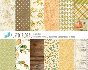 """Rustic Floral Paper Scrapbook Paper Pad One-Sided Paper Pad 12""""X12"""" Cardstock Paper Pad"""