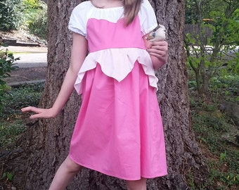 Sleeping Beauty Dress - Aurora Sleeping Beauty - Cotton Play Dress - Sleeping Beauty Inspired Pink Dress - Girls Sleeping Beauty Costume