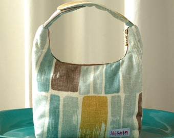 Lunch Bag Insulated, Large Women Lunch Bag, Large Fabric Lunch Bag, Brush Stroke Pattern in Shades of Sky Blue, Brown and Mustard