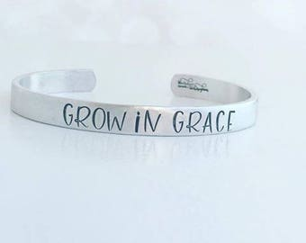 Grow In Grace Hand Stamped Cuff Bracelet - Hand Stamped Jewelry - Quote Bracelet - Stacking Bracelets - Religious Bracelet - Christian