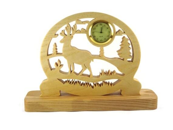 Elk Scene Desk Or Shelf Clock Handmade From Ash Wood By KevsKrafts