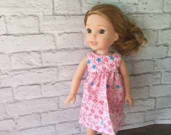 "Doll Clothes - 14"" Doll Clothes - Outfit for Dolls - Doll Dresses - Pink Doll Dress - Wellie Wishers - Wellie Wishers Dress - Floral Dress"