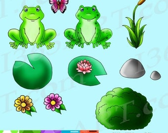 50% OFF Cute Frog Clipart, Frog Clip art, Wildlife, Water Lily, Digital Scrapbooking Paper, PNG & JPEG Files Commercial-Use Download