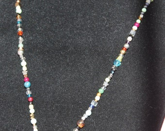 Artist's Stash Necklace with Pink Agate Pendant