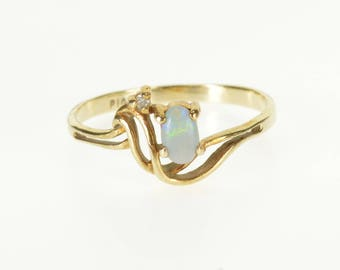 10k Opal Oval Diamond Accented Wavy Curve Ring Gold