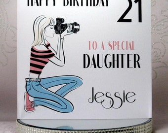 Luxury Handmade Personalised Birthday Card - Lady with a Camera - With genuine Swarovski Crystals Plus FREE UK DELIVERY!