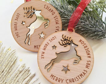 Merry Christmas Teacher Rudolph Wooden Christmas Bauble - Teacher's Name and Child's Name
